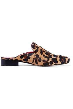 DORATEYMUR Filiskiye leopard-print calf hair slippers