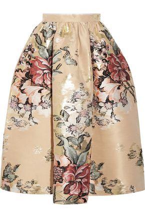 FENDI Metallic floral-jacquard midi skirt