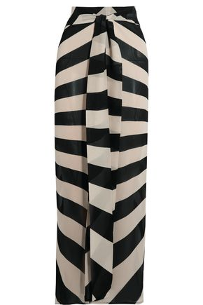 GARETH PUGH Tie-front striped silk-blend chiffon maxi skirt