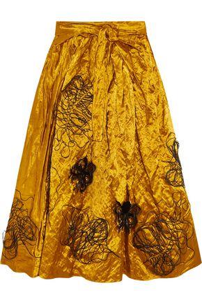 ROKSANDA Kalmar embellished crushed-satin midi skirt