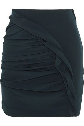 CARMEN MARCH Basilico ruched crepe mini skirt
