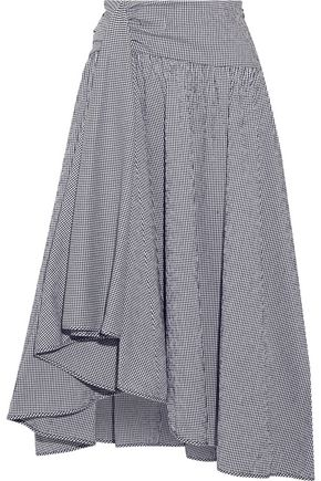 ROSIE ASSOULIN Asymmetric draped gingham seersucker midi skirt