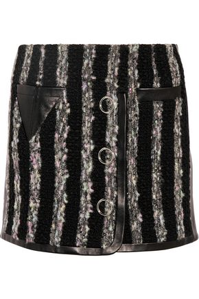 ALEXANDER WANG Leather-paneled bouclé mini skirt