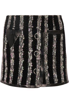 ALEXANDER WANG Leather-paneled bouclé mini skirt