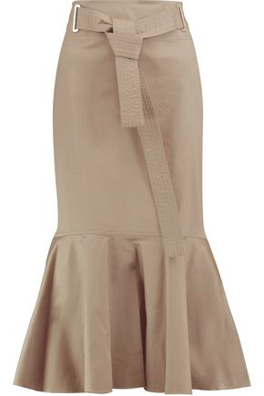 ROBERT RODRIGUEZ Belted fluted stretch-cotton midi skirt