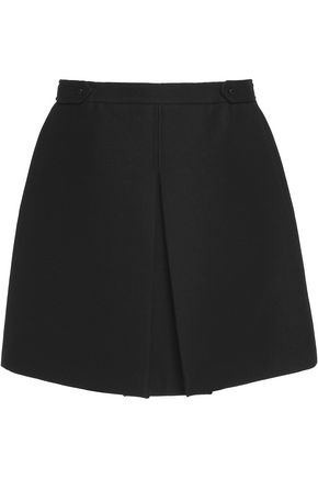 BELSTAFF Langfield pleated wool and cotton-blend twill mini skirt