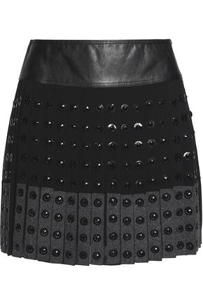 BELSTAFF Norwood embellished wool-blend silk crepe de chine mini skirt
