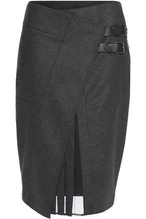 BELSTAFF Winnie wrap-effect wool-blend skirt