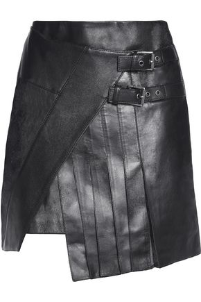 BELSTAFF Cara wrap-effect leather mini skirt