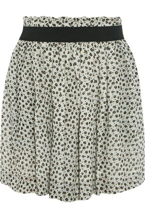 GANNI Printed chiffon mini skirt
