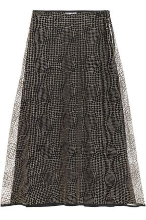 VIONNET Metallic mesh and silk-crepe midi skirt