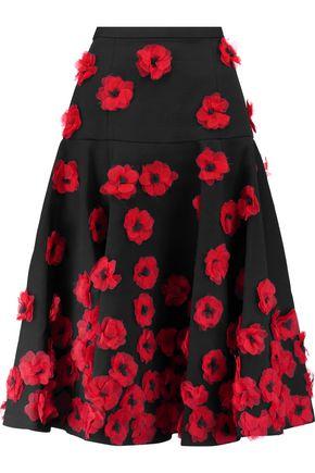 MICHAEL KORS COLLECTION Appliquéd cotton-blend matelassé midi skirt