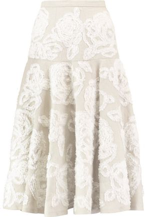 MICHAEL KORS COLLECTION Pleated fil coupé linen midi skirt