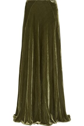 ETRO Pleated velvet maxi skirt