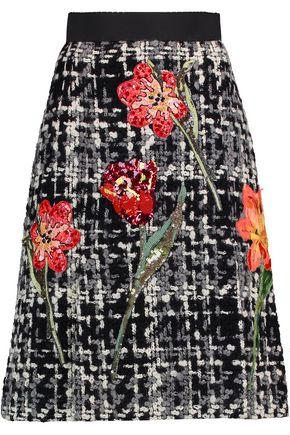 DOLCE & GABBANA Appliquéd wool-blend bouclé-tweed skirt