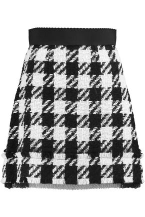 DOLCE & GABBANA Checked wool-blend mini skirt