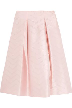 ALEXIS Perforated satin midi skirt