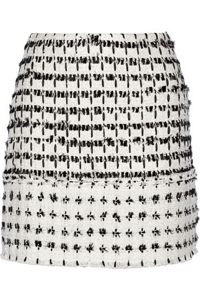 ERDEM Mari frayed cotton-tweed mini skirt