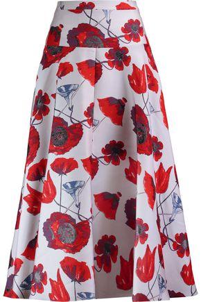 OSMAN Izez floral-print twill midi skirt