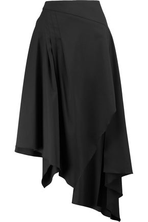 OSMAN Wrap-effect wool-blend crepe midi skirt