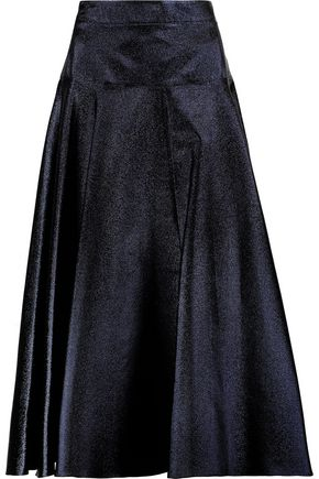 OSMAN Metallic lamé midi skirt