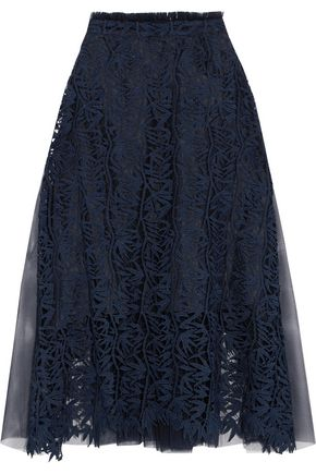 OSMAN Paneled guipure lace and tulle midi skirt