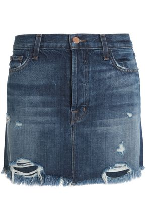J BRAND Distressed denim mini skirt