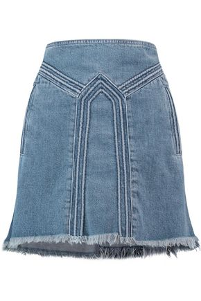 CHLOÉ Frayed denim mini skirt