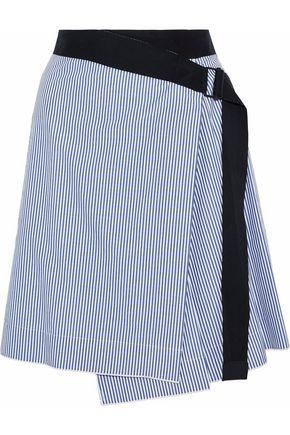 RAG & BONE Canvas-trimmed striped cotton and silk-blend wrap skirt