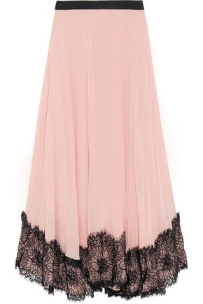 CINQ À SEPT Kaya lace-trimmed pleated georgette midi skirt