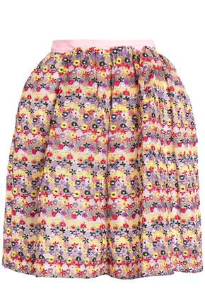 MSGM Embroidered cotton-blend organza skirt