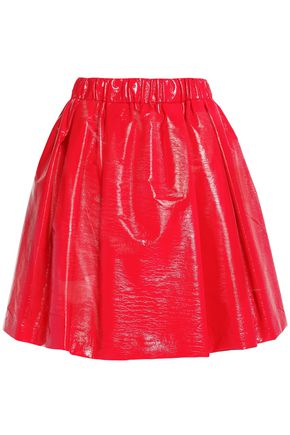 MSGM Pleated faux patent-leather skirt