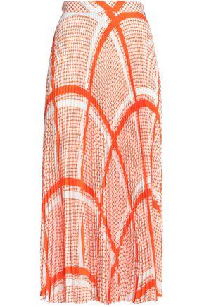 MSGM Printed plissé midi skirt