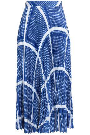 MSGM Printed plissé crepe de chine midi skirt