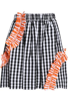 MSGM Ruched gingham cotton-poplin mini skirt