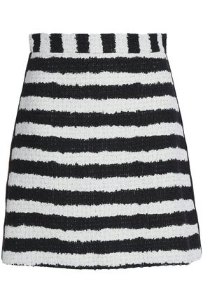 MSGM Striped cotton-blend tweed mini skirt