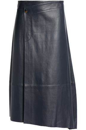 HELMUT LANG Wrap-effect leather midi skirt