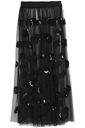 MSGM Sequin-embellished tulle midi skirt