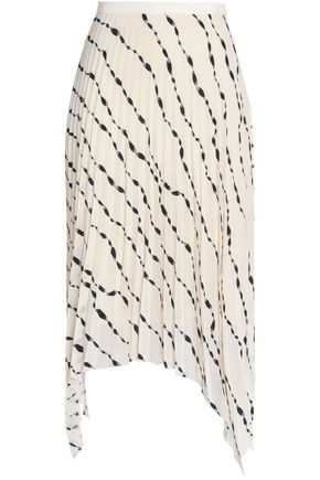 HELMUT LANG Printed plissé midi skirt