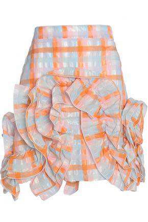 MSGM Ruffled checked seersucker organza mini skirt