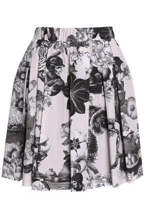 MSGM Printed pleated cotton skirt