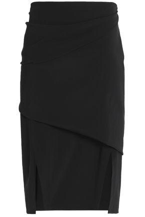 JIL SANDER Wool-blend crepe skirt
