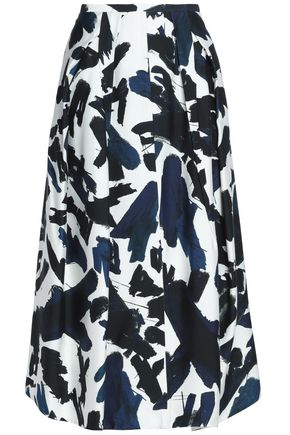 JIL SANDER Pleated printed cady midi skirt