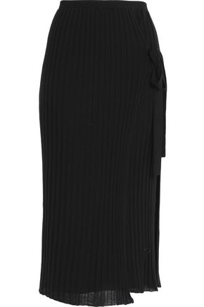 HELMUT LANG Wrap-effect pleated wool midi skirt