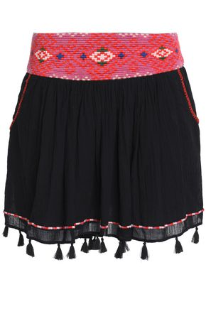 JOIE Posey tasseled embroidered cotton-gauze mini skirt