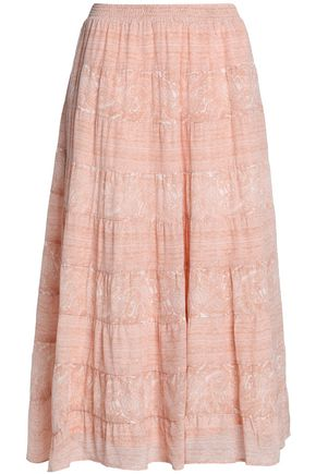 JOIE Printed silk midi skirt