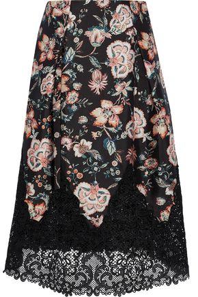 SACHIN & BABI Guipure lace-paneled floral-print midi skirt