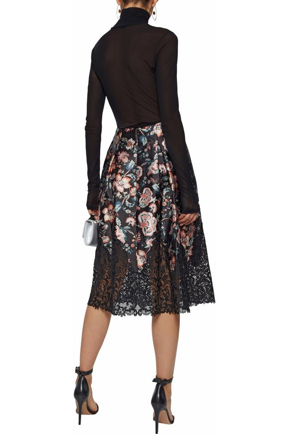 Guipure lace-paneled floral-print midi skirt | SACHIN & BABI | Sale up to 70%  off | THE OUTNET