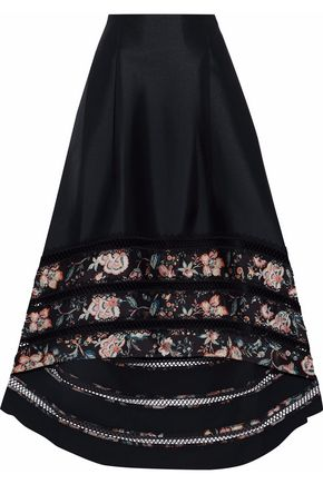 SACHIN & BABI Paneled satin-twill maxi skirt