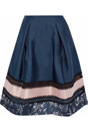SACHIN & BABI Faille-paneled lace-trimmed printed satin skirt